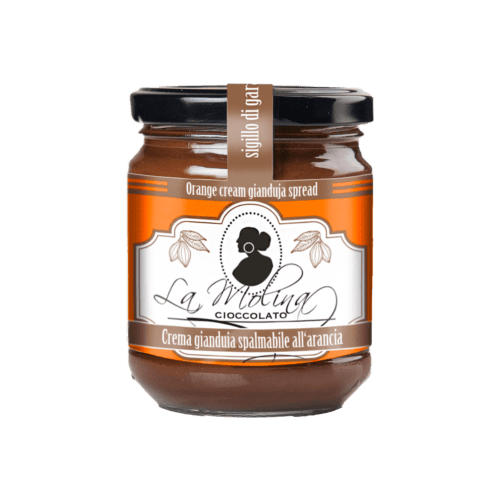 Dark gianduia spread with orange  peel.